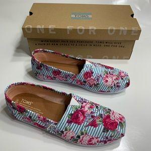 TOMS classic Floral stripes shoes